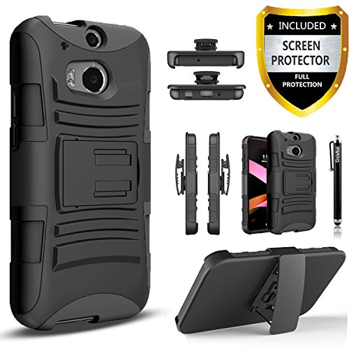 HTC One M8 Case, Combo Phone Cover Kickstand with Built-in Holster Locking Belt Clip with [HD Screen Protector] And Circlemalls Stylus Pen-Black