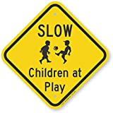 "SmartSign Aluminum Sign, Legend""Slow-Children at Play"" with Graphic, 12"" Square, Black on Yellow"