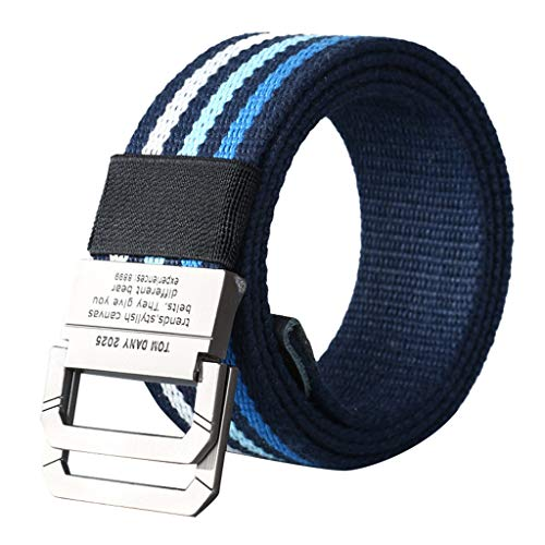Fine Canvas Belt for Men and Women, Adjustable Military Style Nylon Webbing with Heavy-Duty Quick-Release Metal Buckle ()