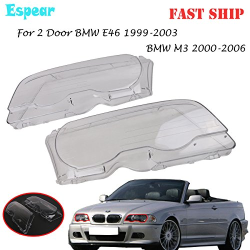Halogen Headlight lens Cover shell for BMW E46 (2000-2003) M3 323ci 325ci 328ci 330ci 2-Door