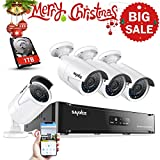 SANNCE 4CH HD 1080P POE NVR Home Surveillance System with 4pcs 1080P 100ft Night Vision Weatherproof Security Camera System (Power Over Ethernet, P2P Cloud Technology, 2.0 Mega pixels, Smart IR Cut) - 1TB Hard Disk