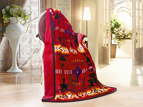 Southwest Design (Navajo Print) Sherpa Lined Throw 16112 Red