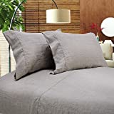 Simple&Opulence 100% Linen Sheet Set Embroidery Linen (King,Embroidery Linen)
