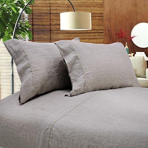 Linen Pillowcase - Simple&Opulence 100% Linen Sheet Set Full Embroidery Linen (1 Flat Sheet,1 Fitted Sheet,2 Pillowcases)