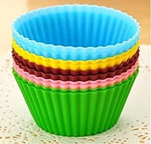 Drhob 12pcs/lot Mixed Colors Round Silicone Muffin Cases Cake Cupcake Liner Baking Molds Cake Moulds Gift (Color: Multicolor Random)