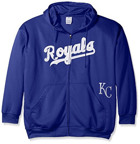 Profile Big & Tall MLB Kansas City Royals Men's Full Zip Poly Fleece with Wordmark Chest with Logo Near Pocket, 3X, Royal