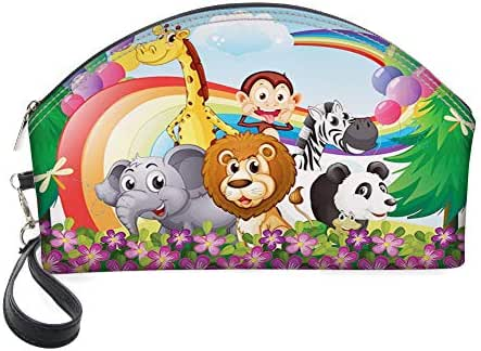 Half Moon Cosmetic Beauty Bag,Group of Animals at The Hilltop with a Rainbow and Balloons Fresh Garden Happy for Women & Girls School Travel Office