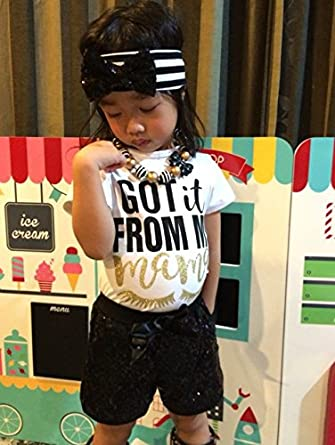 Sequins Shorts+Headbands Sets Kids Baby Girls Got It from My Mama Letters Print T-Shirt