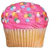 iscream Sugar-riffic! Pink Icing Cupcake 17'' x 17'' Photoreal Print Microbead Accent Pillow