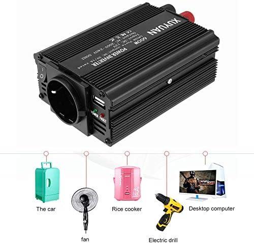 Noir Convertisseur de Courant Professionnel USB 600W CC 12V en Courant Alternatif 220V avec convertisseur de Voiture indicateur /à LED pour appareils m/énagers