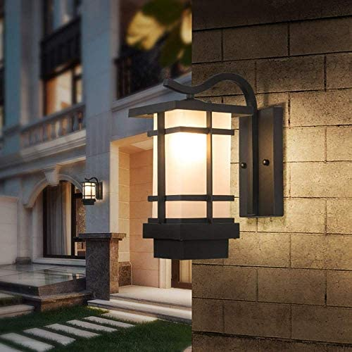 アメリカのレトロな農村主導屋外の壁ランプ防水屋外パティオバルコニー回廊ブラックガラスの壁ランプ16x33cm暖かいです ウォールランタンウォールスポットライト