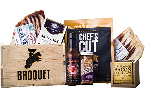 Bacon Gift Pack (Bacon Lover Sampler Set) Bacon Six Ways - Gourmet Food Gift - Great Gift For Men - Comes in a Wooden Gift Crate (Best Food Of The Month Gifts)
