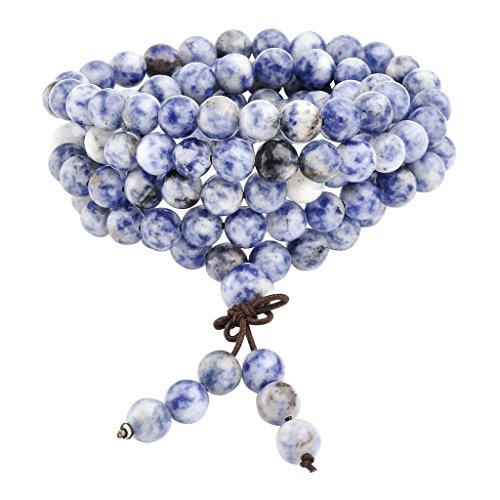 Jovivi 8mm Natural Sodalite Stone Healing Gemstone 108 Buddhist Prayer Beads Tibetan Mala Stretch Bracelet Necklace