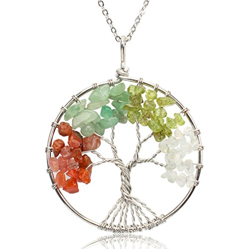 (KISSPAT Handmade Tree of Life Gemstone Pendant Necklace with 26