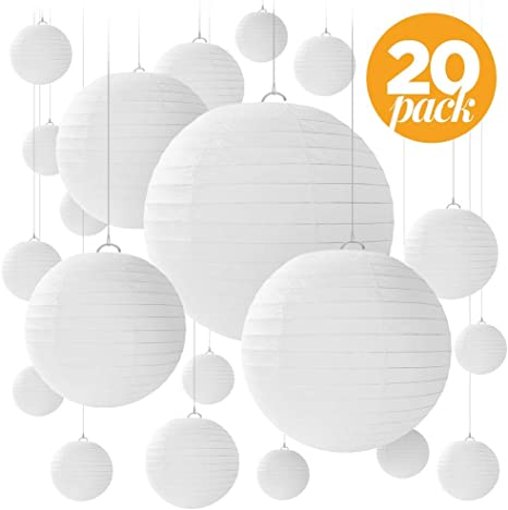 Pack of 3 Paper Lanterns Globes Round 3 Sizes 8 12 16 inches Various Colours