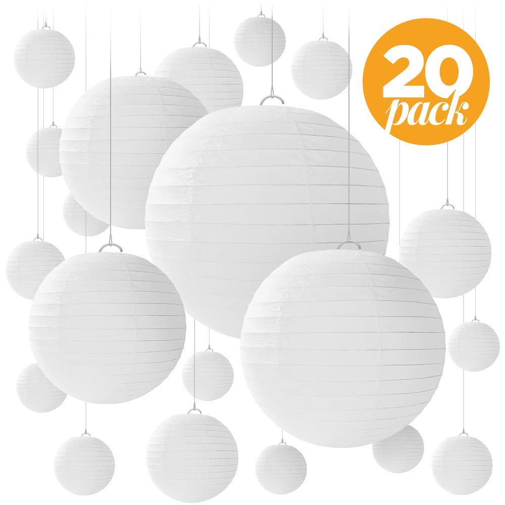 """20 White Round Paper Lanterns for Weddings, Birthdays, Parties and Events - Assorted Sizes of 6"""", 8"""", 10"""", 12"""" (5 of Each Size) - by Avoseta"""