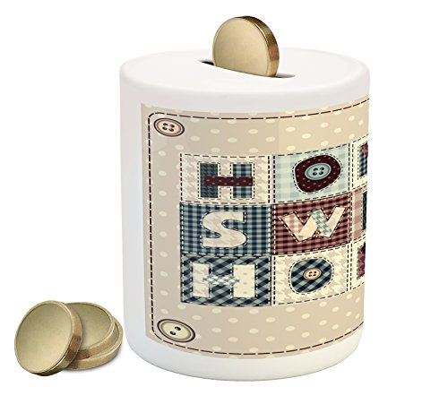 Ambesonne Home Sweet Home Coin Box Bank, Patchwork Style Composition with Letters on Retro Polka Dots Buttons Print, Printed Ceramic Coin Bank Money Box for Cash Saving, Multicolor