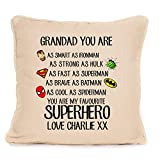 Personalized Cushion Pillow Cover Gift for Grandad - Superhero Worlds Best Grandad - Perfect Present For Fathers Day Birthday Or Christmas - 18x18 Inch