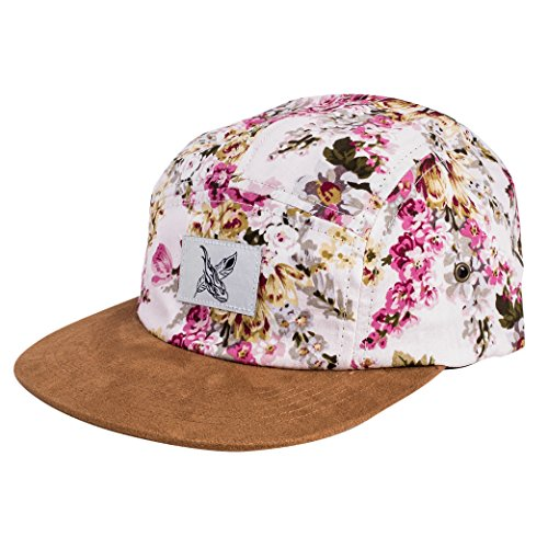 Phoenix Sakura 5-Panel Cap White with Cherry Blossoms Unisex Baseball Hat Suede (Crown Five Panel Cap)