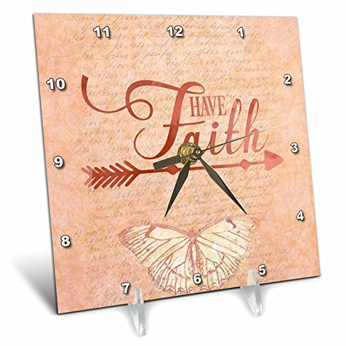3dRose Andrea Haase Inspirational Typography - Typography Have Faith With Butterfly - 6x6 Desk Clock (dc_282571_1) by 3dRose