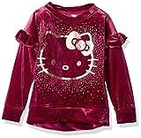 Hello Kitty Little Girls' Velvet Sweatshirt with Foil Artwork, Maroon, 6
