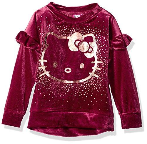 Hello Kitty Big Girls' Velvet Sweatshirt With Foil Artwork, Maroon, 7