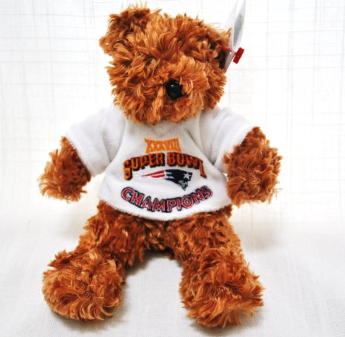 New England Patriots limited edition special fabric Super Bowl white Jersey Teddy Bear