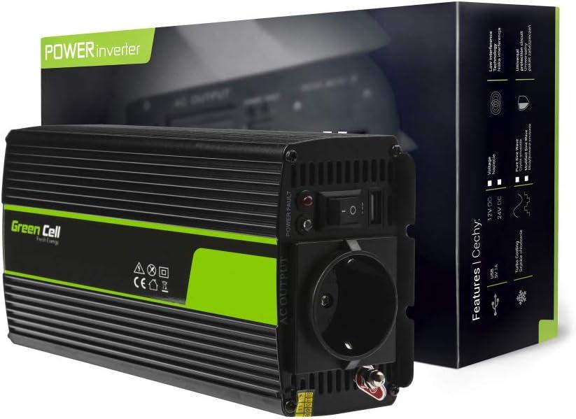 Green Cell® 500W/1000W Onda sinusoidal modificada Inversor de Corriente Power Inverter DC 12V AC 220V, Transformador de Voltaje para Coche con Puerto USB y Pinzas de conexión a baterí