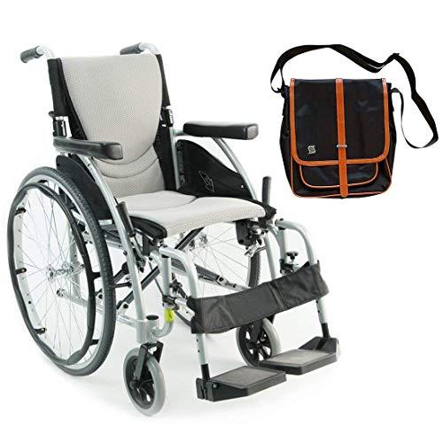 "Karman S-Ergo 115 Ultra Lightweight Ergonomic Wheelchair | Seat Size 16"" X 17"" | Swing Away Footrest | Fixed Wheels in Silver & Free Black Medical Utility Bag with Trim!"