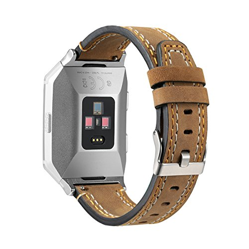 bayite Leather Bands Compatible Fitbit Ionic, Genuine Leather Replacement Accessories Straps Wristband Women Men, Olive Brown