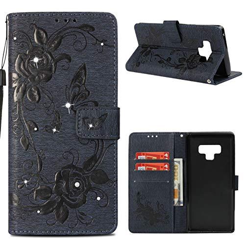 Galaxy Note9 Case, MerKuyom [3D Rhinestones Flower Butterfly][Wrist Strap] [Kickstand] Premium PU Leather Wallet Pouch Flip Cover Case for Samsung Galaxy Note9 Note 9, W/Stylus (Dark (Note Rhinestone)
