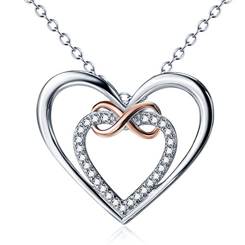 Infinity Heart Pendant (YFN 925 Sterling Silver Heart Cubic Zirconia Infinity Love Heart Pendant Necklace, 18+2
