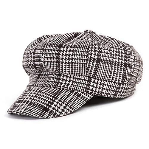 帽子キャップ 秋冬 黒い白フェルトの帽子 ヴィンテージ 八角形の帽子 女性 カジュアル,カーキ