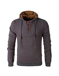 Men's Fleece Lined Pullover Bomber Henley Jacket Hoodie Sweatshirt