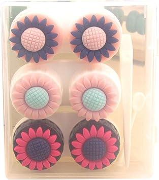JUNGEN Caja para lentes de contacto Estuche de lentillas de gran capacidad con 3 de Caja de lentes Pinza Aplicador Kit de viaje de lentes de contacto (Girasol): Amazon.es: Salud y cuidado