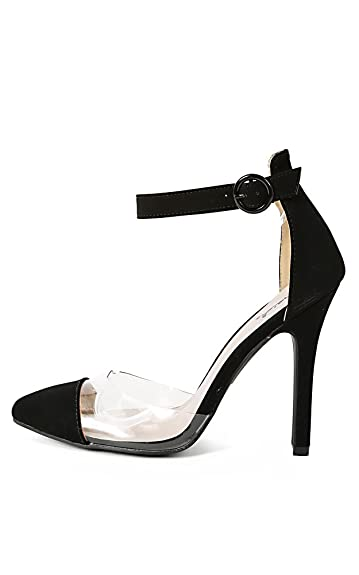 cdd945844ec Qupid Potion-108 Black Mint Lucite Ankle Strap Clear Pointy Toe Pump (6