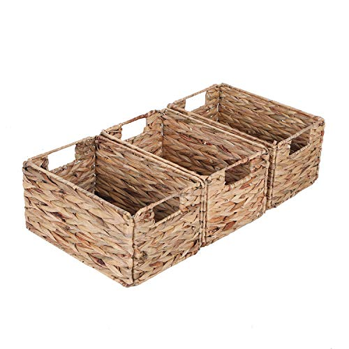 Sophia&William 3-Pack Foldable Handwoven Water Hyacinth Rectangular Storage Basket with Handles - 12.2