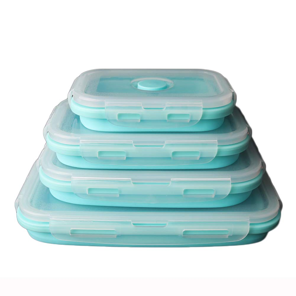 KnvcDey Silicone Collapsible Bowl,Camping Hiking Portable Travel Food Storage containers Lunch bento Box bpa Free Space-Saving-Blue A 4 Pack by KnvcDey