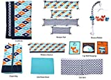 Bacati Liam Aztec 10 Piece Nursery-in-a-Bag Cotton Percale Crib Bedding Set with Bumper Pad, Aqua/Orange/Navy