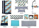 Bacati Liam Aztec 10 Piece Nursery-in-a-Bag Cotton Percale Crib Bedding Set with Bumper Pad, Aqua/Orange/Navy