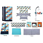 Bacati-Liam-Aztec-10-Piece-Nursery-in-a-Bag-Cotton-Percale-Crib-Bedding-Set-with-Bumper-Pad-AquaOrangeNavy