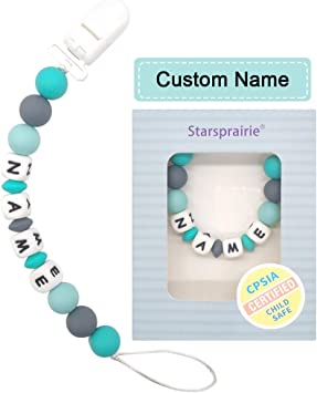 Baby Shower Gift Custom Pacifier Clip Baby Teething Toys 2 Pack Personalized Name Pacifier Holder BPA Free Silicone Beads Binky Holder for Boy Girl Soothie,Mam Blue//Green
