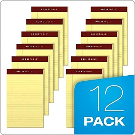 TOPS Docket Gold Writing Tablet, 5 x 8 Inches, Perforated, Canary, Narrow Rule, 50 Sheets per Pad, 12 Pads per Pack (63900)