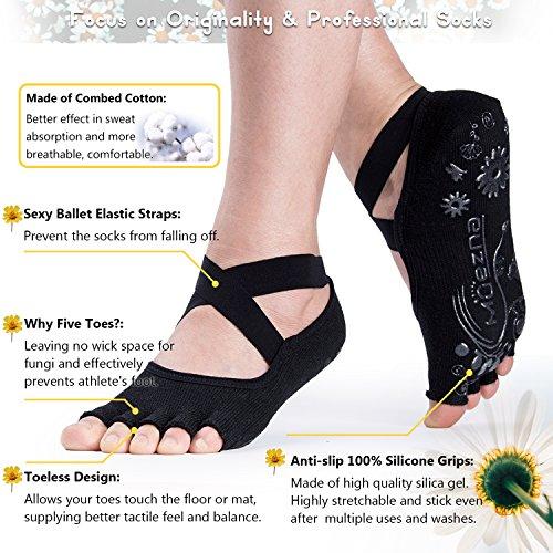 Calcetines de yoga antideslizantes Muezna antideslizantes para mujeres, empuñadura antideslizante sin agarre Pilates, barra, ballet, calcetines de entrenamiento Bikram con algodón, paquete de 3