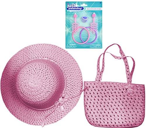 Fancy Girl Dress-Up Costume Accessories - Tea Party Accessories - HAT and PURSE and JEWELRY - Different Color Styles (Pink) - Costume Ideas For 2 Year Old Boy