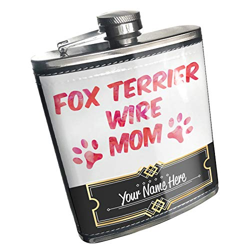 Fox Terrier Jewelry Wire - Neonblond Flask Dog & Cat Mom Fox Terrier Wire Custom Name Stainless Steel