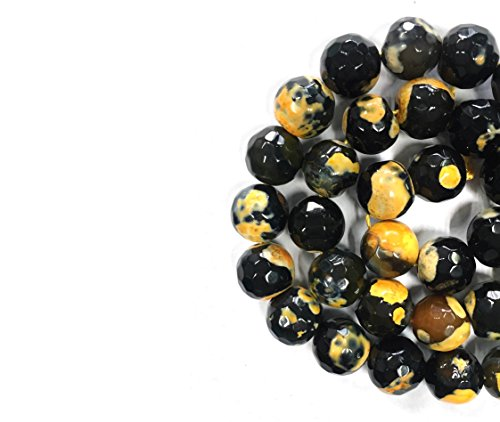 Ameriwal 12mm Natural Orange and Black Fire Agate Faceted Round Highly Polished Loose Gemstone Beads for Jewelry Making (12 Loose Beads Jewelry)