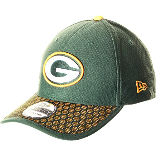 New Era Men's Green Bay Packers 2017 Official NFL Sideline 39THIRTY Cap Green/Yellow Size Medium/Large
