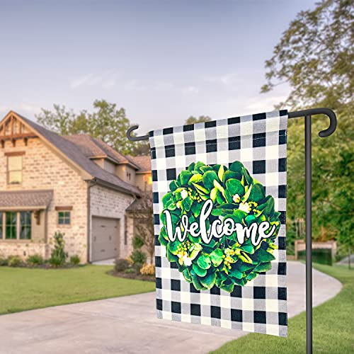 POJORY Welcome Summer Garden Flag Wreath Double Sided Burlap Spring Summer Flag Buffalo Check Plaid Small Vertical Yard Flag Farmhouse Porch Outside Decoration, 12 x 18 Inch, Black and White