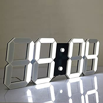 CHIHAI Silent Multifunctional Jumbo LED Digital Wall Clock with Remote Control, Large Calendar and Temperature, Count up, Countdown Timer for Home/Airport/Gymnasium(black Shell White Digital)